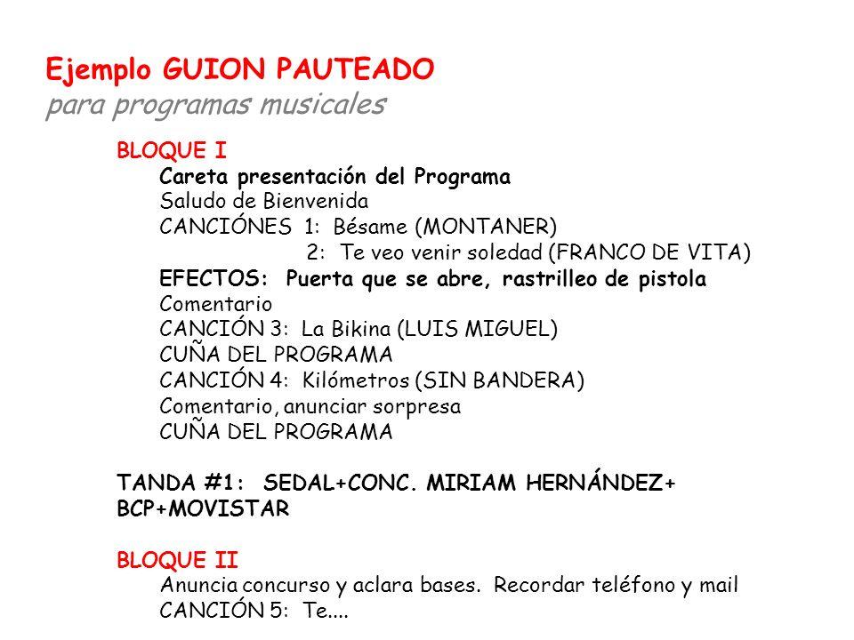 BLOQUE I Careta presentación del Programa Saludo de Bienvenida CANCIÓNES 1: Bésame (MONTANER) 2: Te veo venir soledad (FRANCO DE VITA) EFECTOS: Puerta