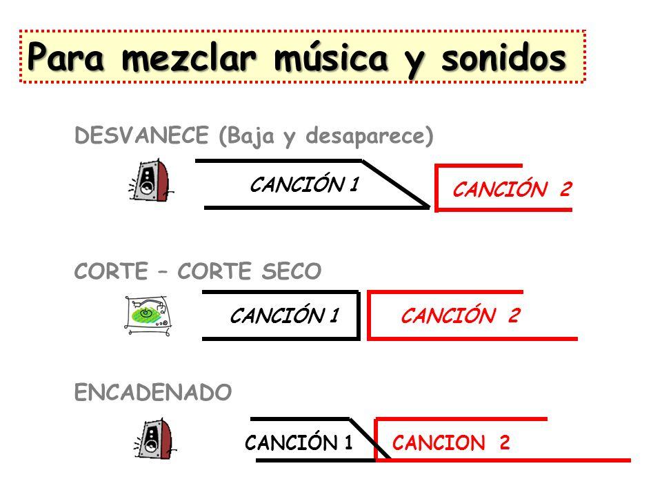 CANCIÓN 1 DESVANECE (Baja y desaparece) CORTE – CORTE SECO CANCIÓN 1CANCIÓN 2 CANCIÓN 1CANCION 2 ENCADENADO Para mezclar música y sonidos