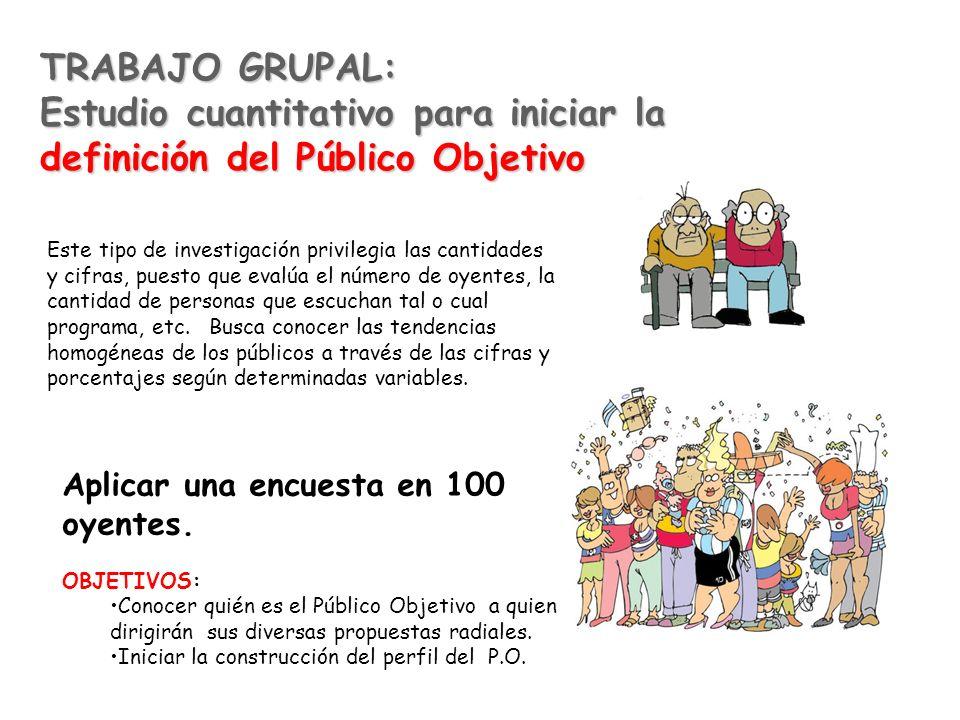 TRABAJO GRUPAL: Estudio cuantitativo para iniciar la definición del Público Objetivo Aplicar una encuesta en 100 oyentes. OBJETIVOS: Conocer quién es