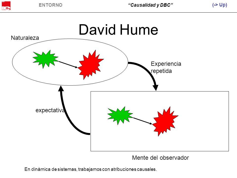 ENTORNOCausalidad y DBC David Hume Naturaleza Mente del observador Experiencia repetida expectativa (-> Up) En dinámica de sistemas, trabajamos con at