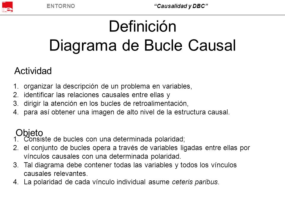 ENTORNOCausalidad y DBC Definición Diagrama de Bucle Causal 1.organizar la descripción de un problema en variables, 2.identificar las relaciones causa