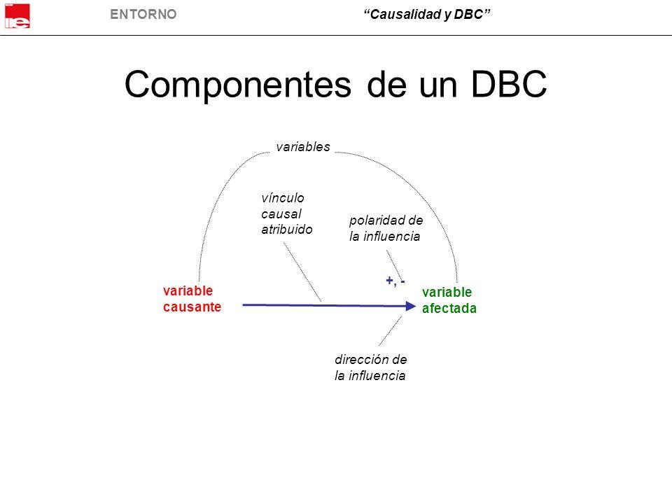ENTORNOCausalidad y DBC Componentes de un DBC variable causante variable afectada +, - variables vínculo causal atribuido dirección de la influencia p