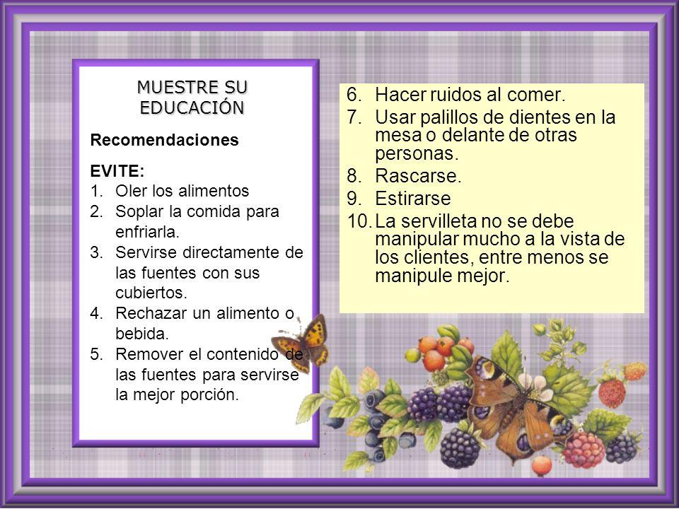 Tarjeta de presentación y de orientación Al servir el café, té u otro refrigerio: Es una tarjeta de cartulina donde aparece el nombre y apellidos del