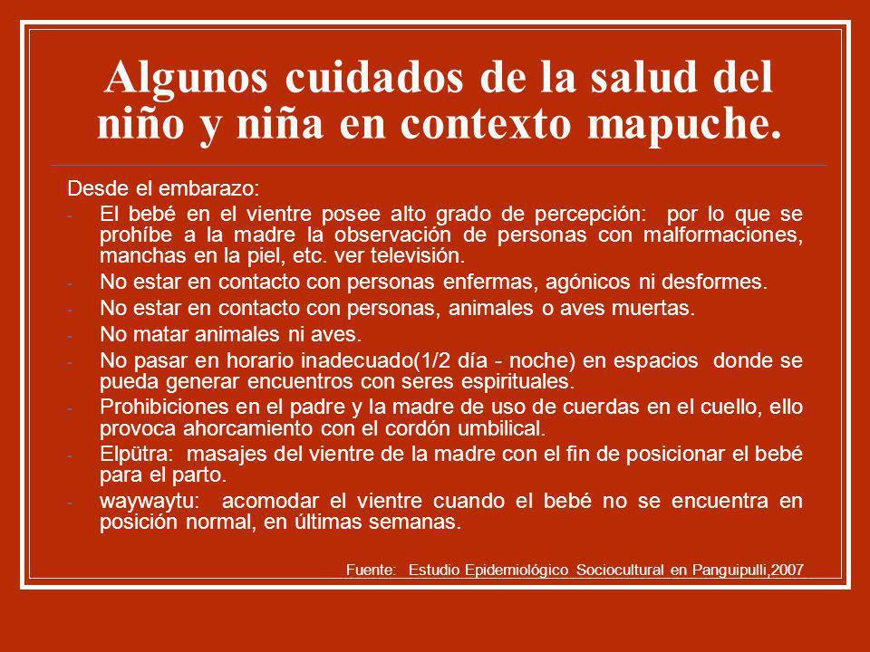 Algunos cuidados de la salud del niño y niña en contexto mapuche. Desde el embarazo: - El bebé en el vientre posee alto grado de percepción: por lo qu