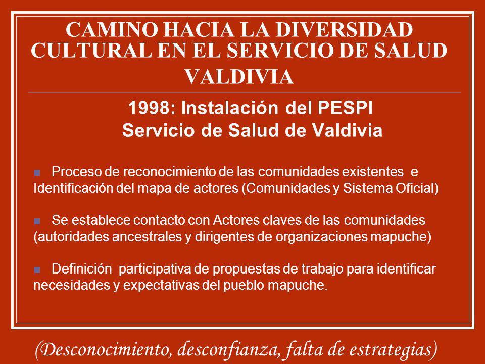 1998: Instalación del PESPI Servicio de Salud de Valdivia Proceso de reconocimiento de las comunidades existentes e Identificación del mapa de actores