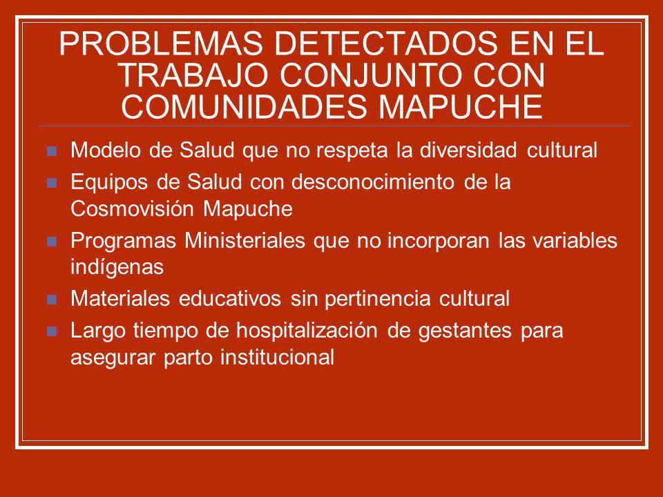 PROBLEMAS DETECTADOS EN EL TRABAJO CONJUNTO CON COMUNIDADES MAPUCHE Modelo de Salud que no respeta la diversidad cultural Equipos de Salud con descono