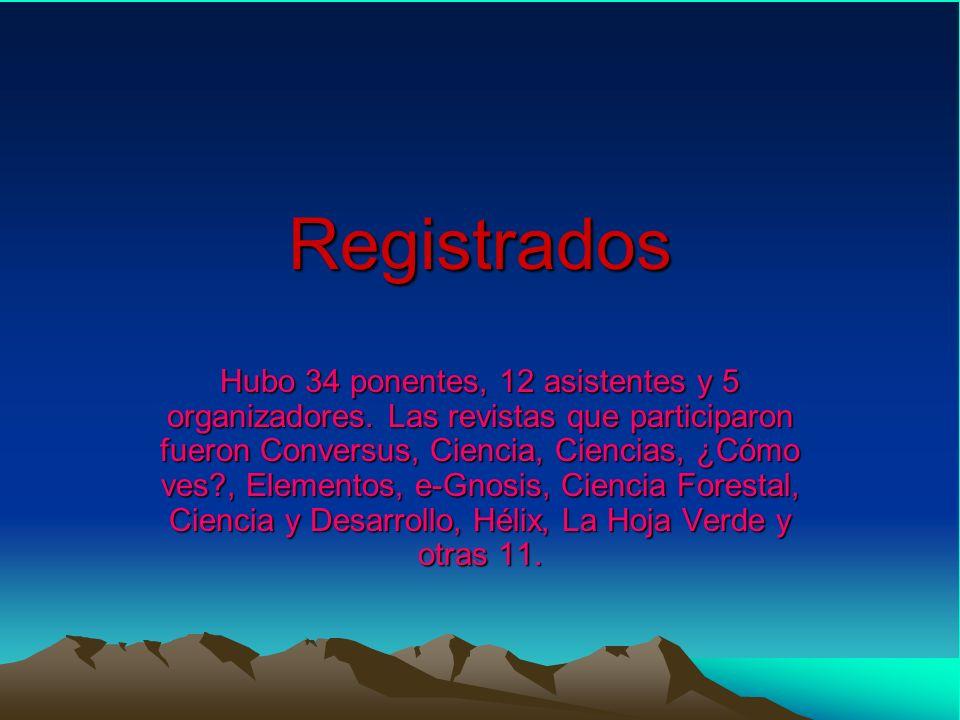 Registrados Hubo 34 ponentes, 12 asistentes y 5 organizadores.