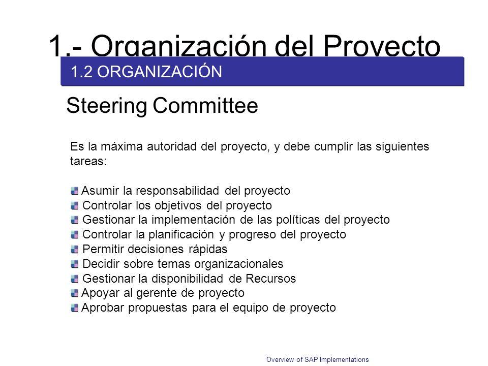 Overview of SAP Implementations Es la máxima autoridad del proyecto, y debe cumplir las siguientes tareas: Asumir la responsabilidad del proyecto Cont
