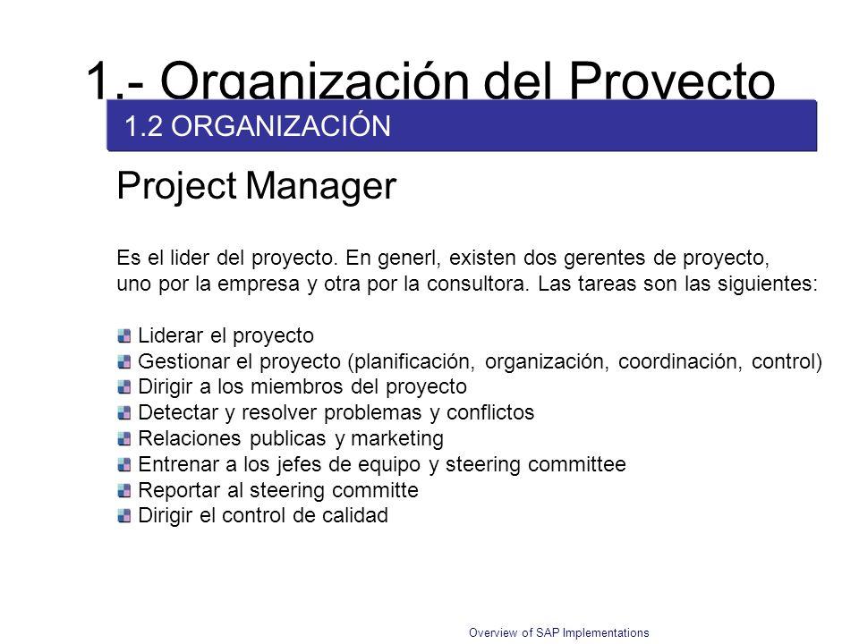 Overview of SAP Implementations Project Manager Es el lider del proyecto. En generl, existen dos gerentes de proyecto, uno por la empresa y otra por l