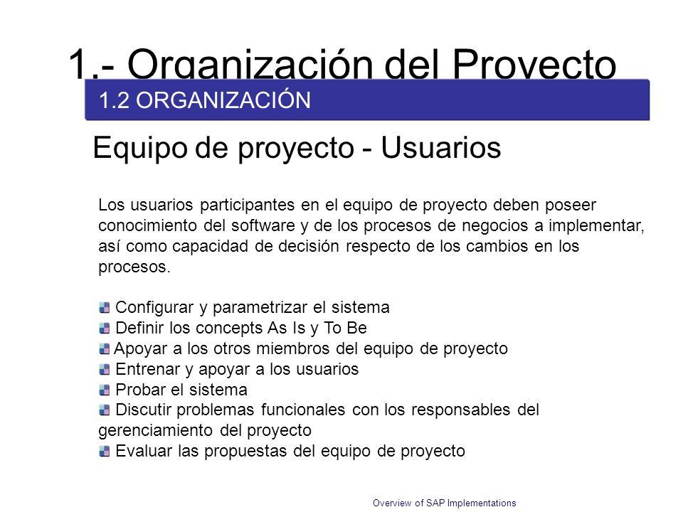Overview of SAP Implementations Equipo de proyecto - Usuarios Los usuarios participantes en el equipo de proyecto deben poseer conocimiento del softwa
