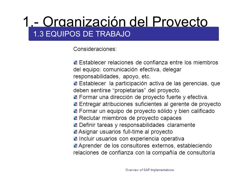 Overview of SAP Implementations 1.- Organización del Proyecto 1.3 EQUIPOS DE TRABAJO Establecer relaciones de confianza entre los miembros del equipo: