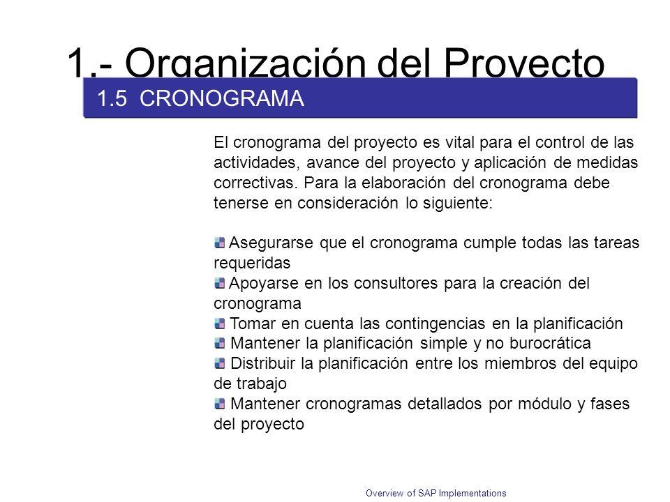 Overview of SAP Implementations 1.- Organización del Proyecto 1.5 CRONOGRAMA El cronograma del proyecto es vital para el control de las actividades, a