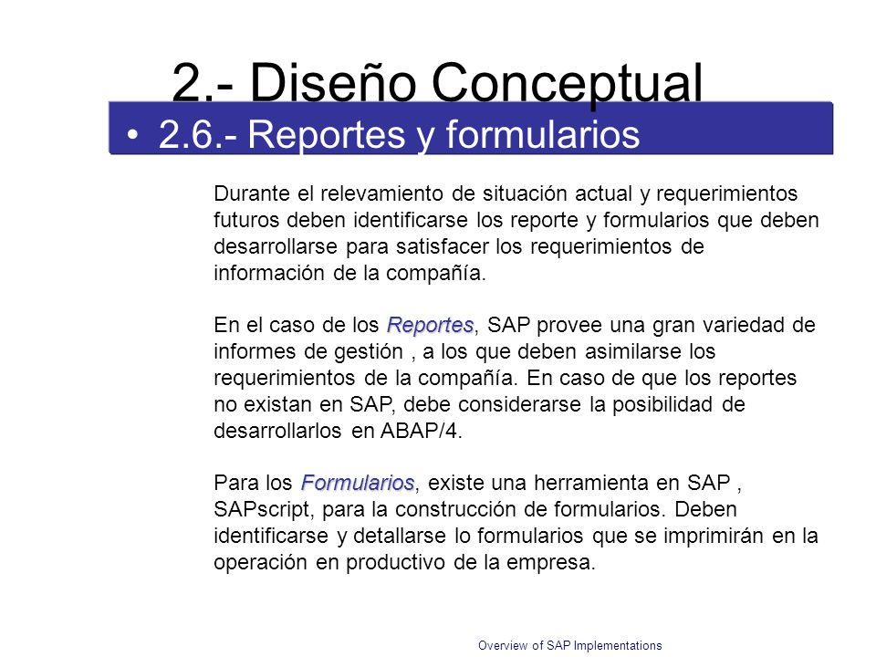 Overview of SAP Implementations 2.6.- Reportes y formularios 2.- Diseño Conceptual Durante el relevamiento de situación actual y requerimientos futuro