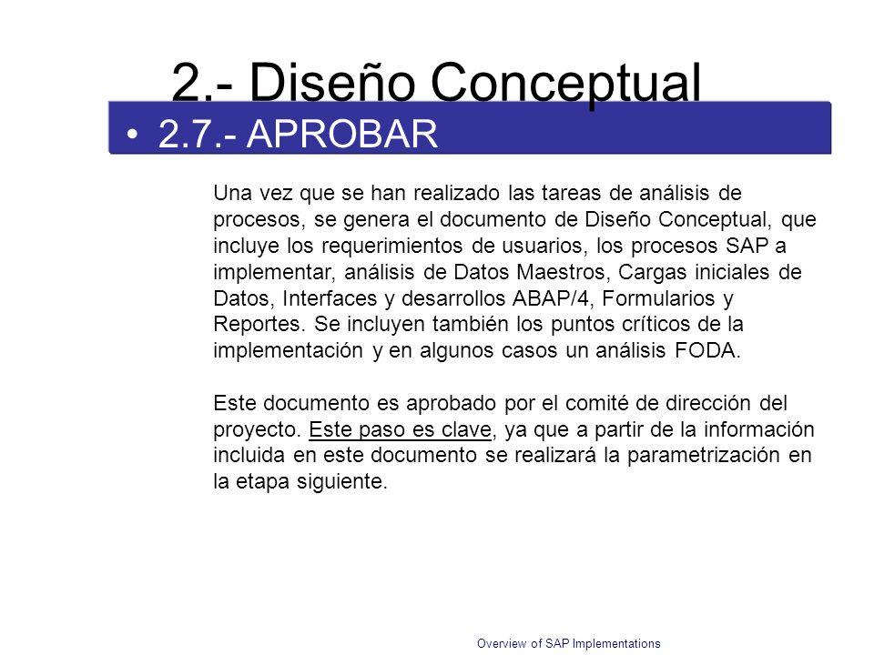 Overview of SAP Implementations 2.7.- APROBAR 2.- Diseño Conceptual Una vez que se han realizado las tareas de análisis de procesos, se genera el docu