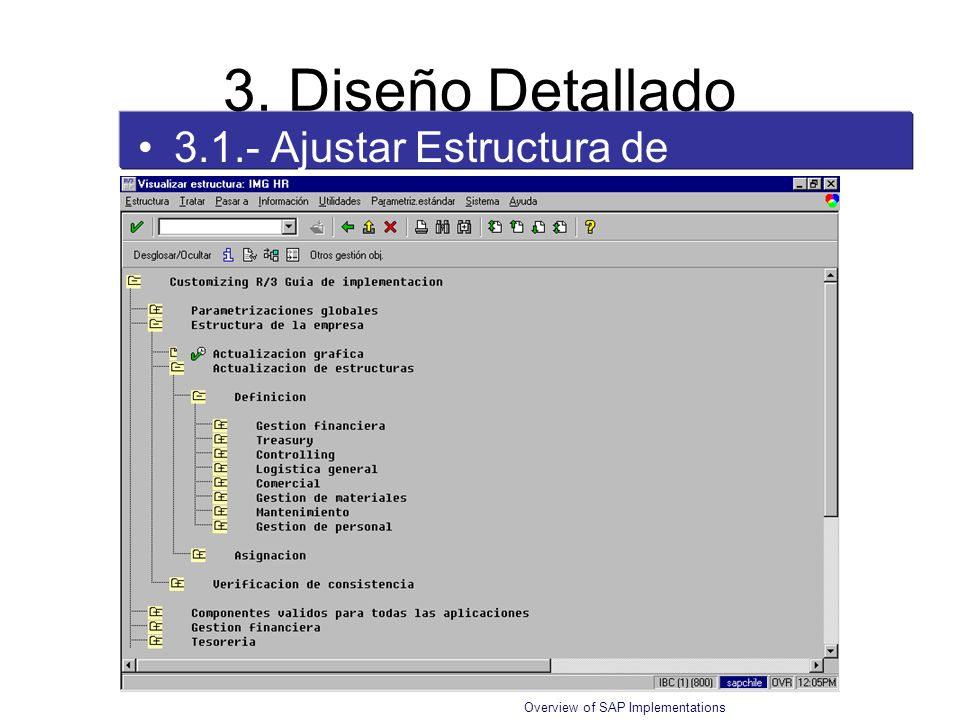 Overview of SAP Implementations 3.1.- Ajustar Estructura de IMG 3. Diseño Detallado