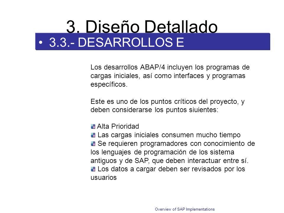 Overview of SAP Implementations 3.3.- DESARROLLOS E INTERFACES 3. Diseño Detallado Los desarrollos ABAP/4 incluyen los programas de cargas iniciales,