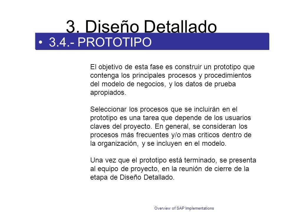 Overview of SAP Implementations 3.4.- PROTOTIPO 3. Diseño Detallado El objetivo de esta fase es construir un prototipo que contenga los principales pr
