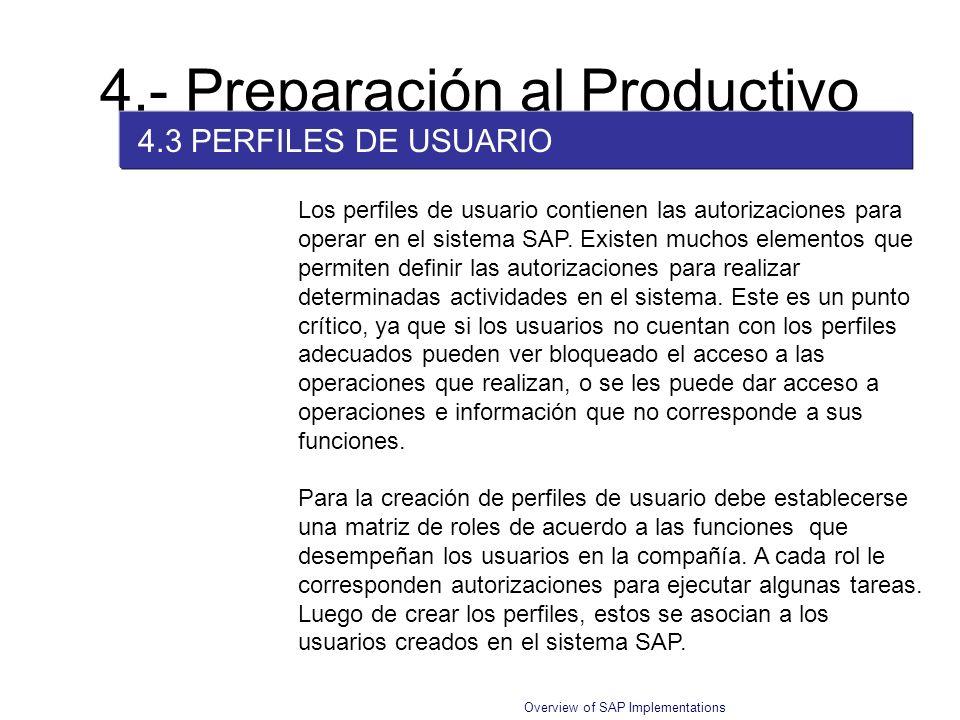 Overview of SAP Implementations 4.- Preparación al Productivo 4.3 PERFILES DE USUARIO Los perfiles de usuario contienen las autorizaciones para operar
