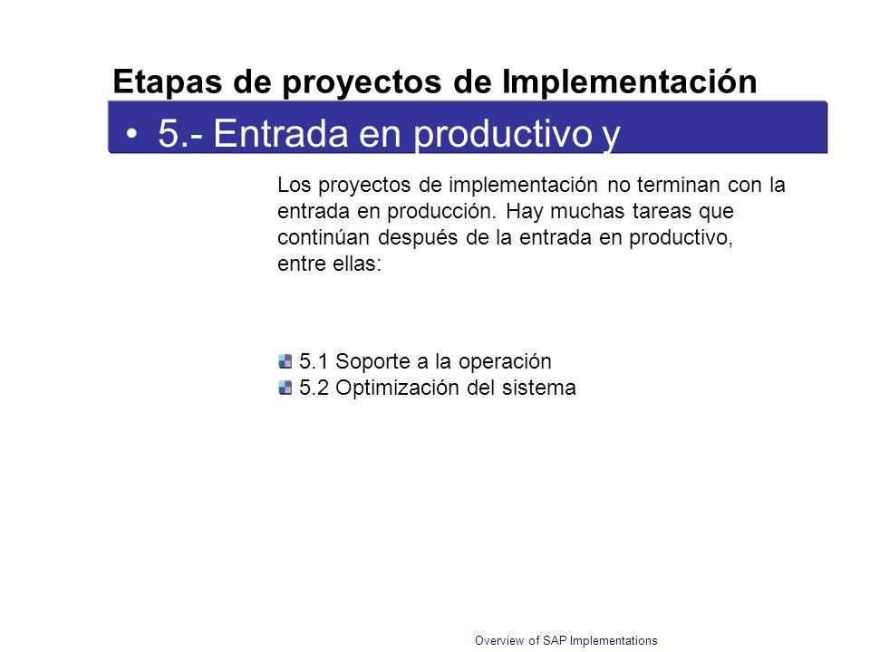 Overview of SAP Implementations 5.- Entrada en productivo y Soporte Los proyectos de implementación no terminan con la entrada en producción. Hay much