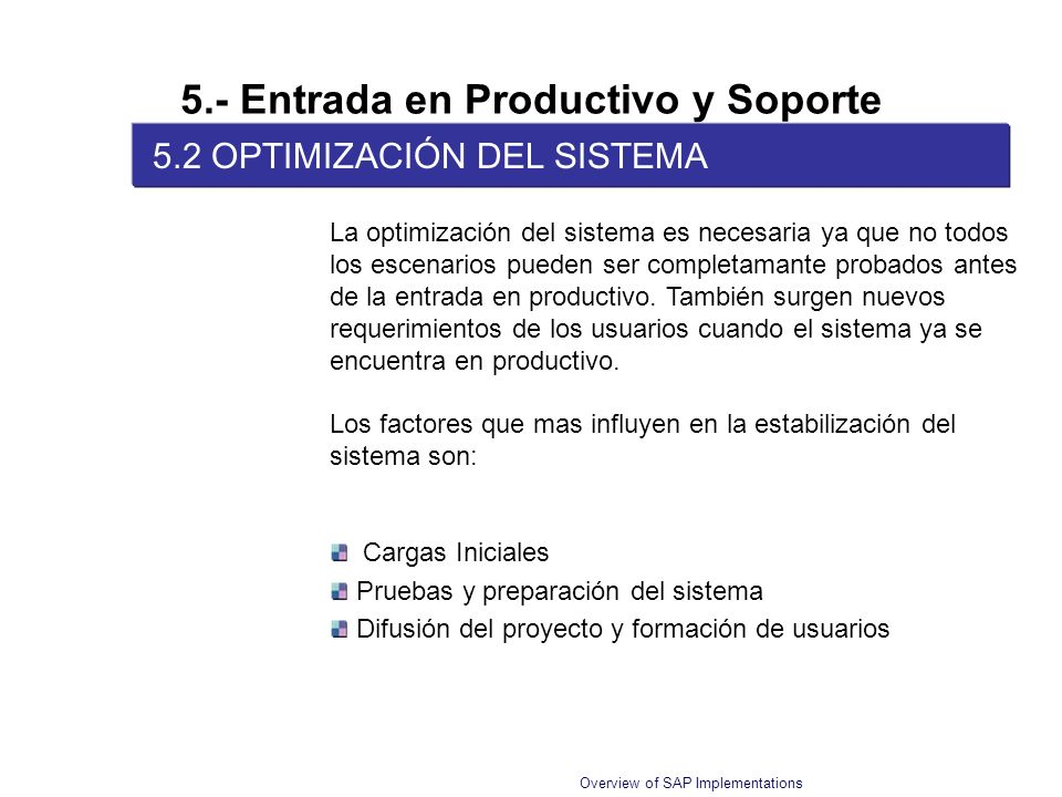 Overview of SAP Implementations 5.- Entrada en Productivo y Soporte 5.2 OPTIMIZACIÓN DEL SISTEMA La optimización del sistema es necesaria ya que no to