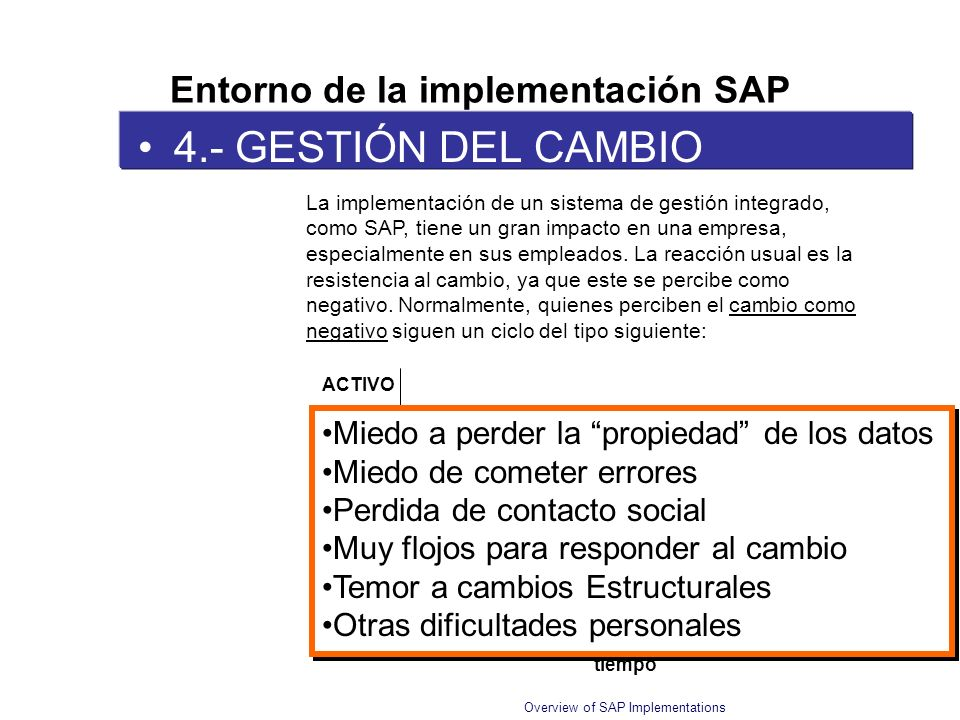 Overview of SAP Implementations 4.- GESTIÓN DEL CAMBIO Entorno de la implementación SAP La implementación de un sistema de gestión integrado, como SAP