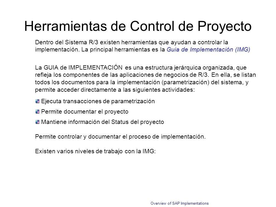 Overview of SAP Implementations Herramientas de Control de Proyecto Guia de Implementación (IMG) Dentro del Sistema R/3 existen herramientas que ayuda