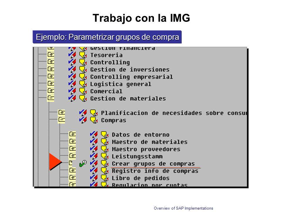 Overview of SAP Implementations Trabajo con la IMG Ejemplo: Parametrizar grupos de compra