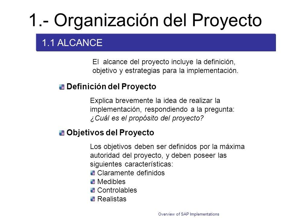 Overview of SAP Implementations El alcance del proyecto incluye la definición, objetivo y estrategias para la implementación. 1.- Organización del Pro