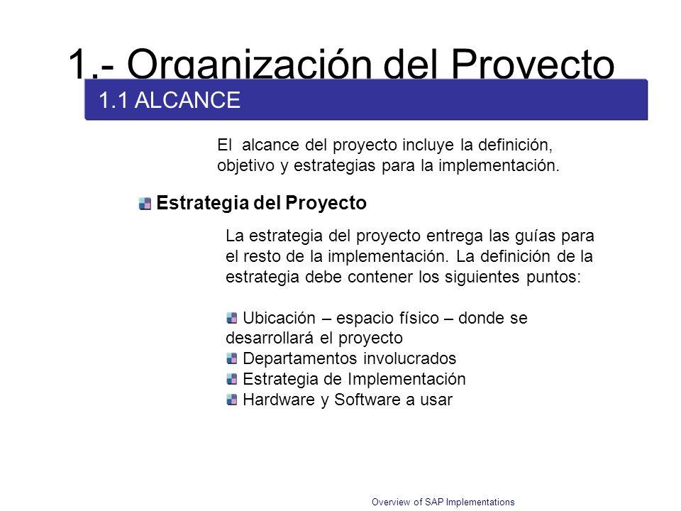 Overview of SAP Implementations El alcance del proyecto incluye la definición, objetivo y estrategias para la implementación. Estrategia del Proyecto