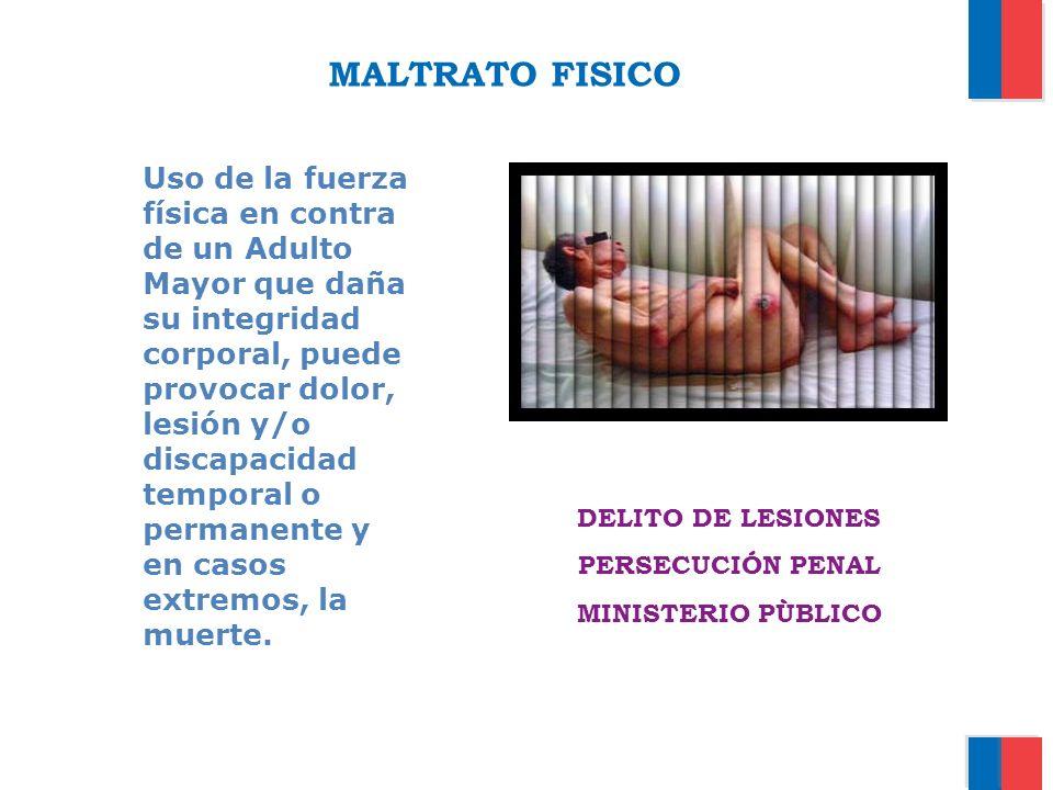 MALTRATO FISICO Uso de la fuerza física en contra de un Adulto Mayor que daña su integridad corporal, puede provocar dolor, lesión y/o discapacidad te