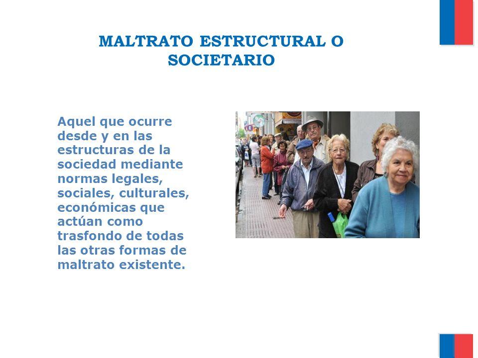 MALTRATO ESTRUCTURAL O SOCIETARIO Aquel que ocurre desde y en las estructuras de la sociedad mediante normas legales, sociales, culturales, económicas
