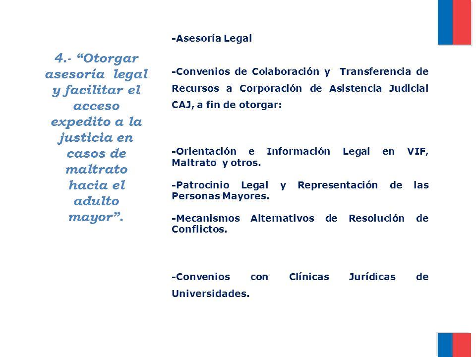 4.- Otorgar asesoría legal y facilitar el acceso expedito a la justicia en casos de maltrato hacia el adulto mayor. -Asesoría Legal -Convenios de Cola