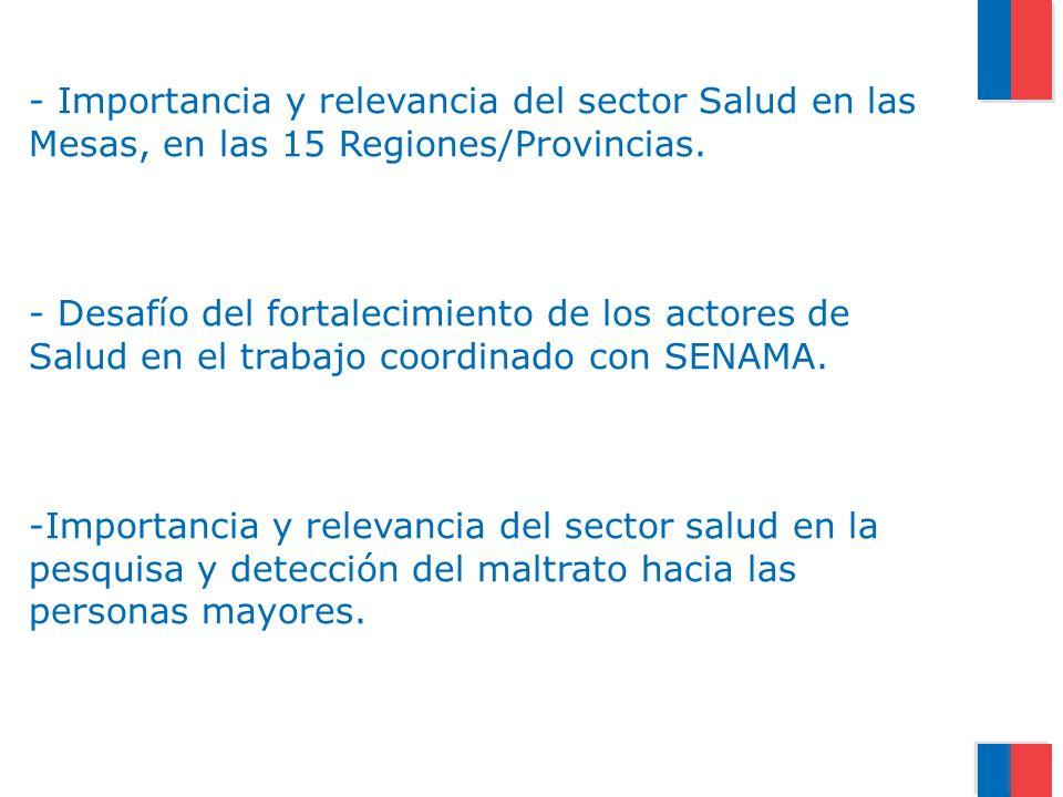 - Importancia y relevancia del sector Salud en las Mesas, en las 15 Regiones/Provincias. - Desafío del fortalecimiento de los actores de Salud en el t