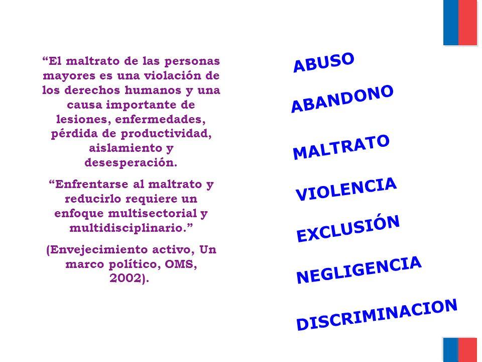 MALTRATO VIOLENCIA DISCRIMINACION NEGLIGENCIA ABANDONO El maltrato de las personas mayores es una violación de los derechos humanos y una causa import