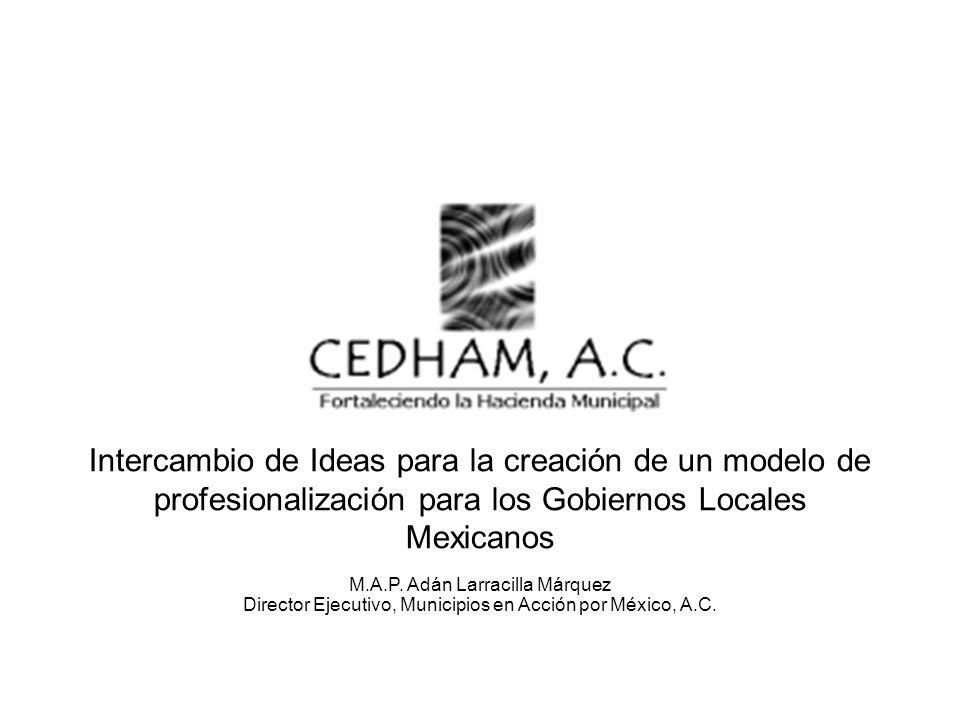 Intercambio de Ideas para la creación de un modelo de profesionalización para los Gobiernos Locales Mexicanos M.A.P. Adán Larracilla Márquez Director
