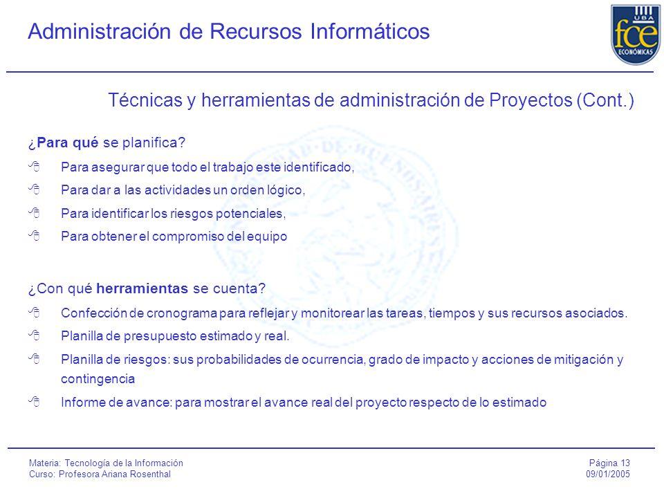 Página 13 09/01/2005 Administración de Recursos Informáticos Materia: Tecnología de la Información Curso: Profesora Ariana Rosenthal Técnicas y herramientas de administración de Proyectos (Cont.) ¿Para qué se planifica.
