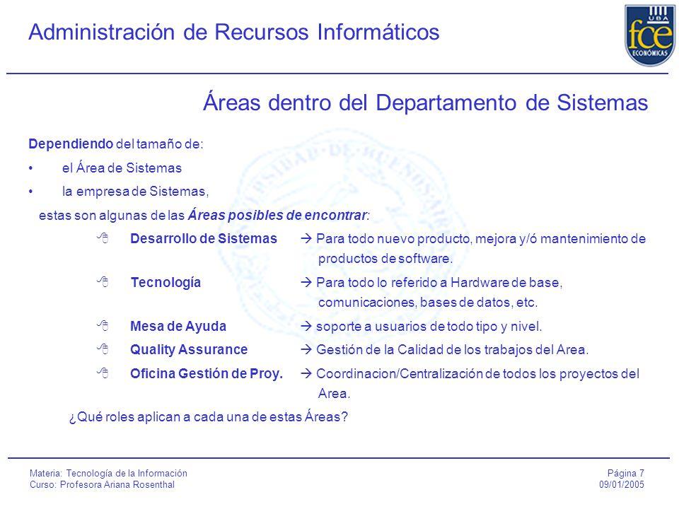 Página 8 09/01/2005 Administración de Recursos Informáticos Materia: Tecnología de la Información Curso: Profesora Ariana Rosenthal Conceptos asociados a proyectos ¿Qué es un proyecto.
