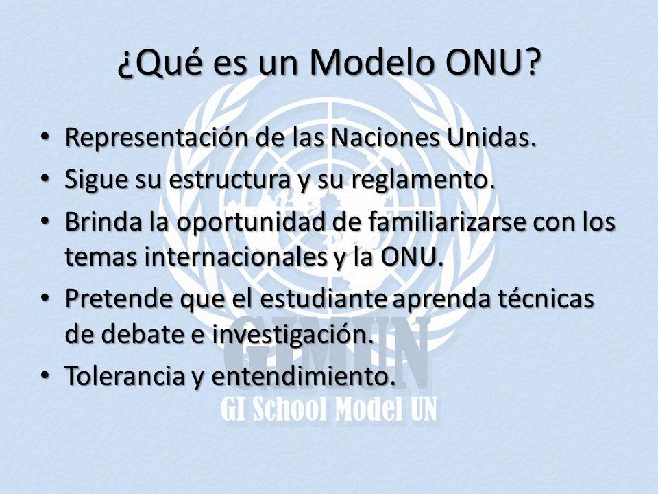 ¿Qué es un Modelo ONU? Representación de las Naciones Unidas. Representación de las Naciones Unidas. Sigue su estructura y su reglamento. Sigue su est