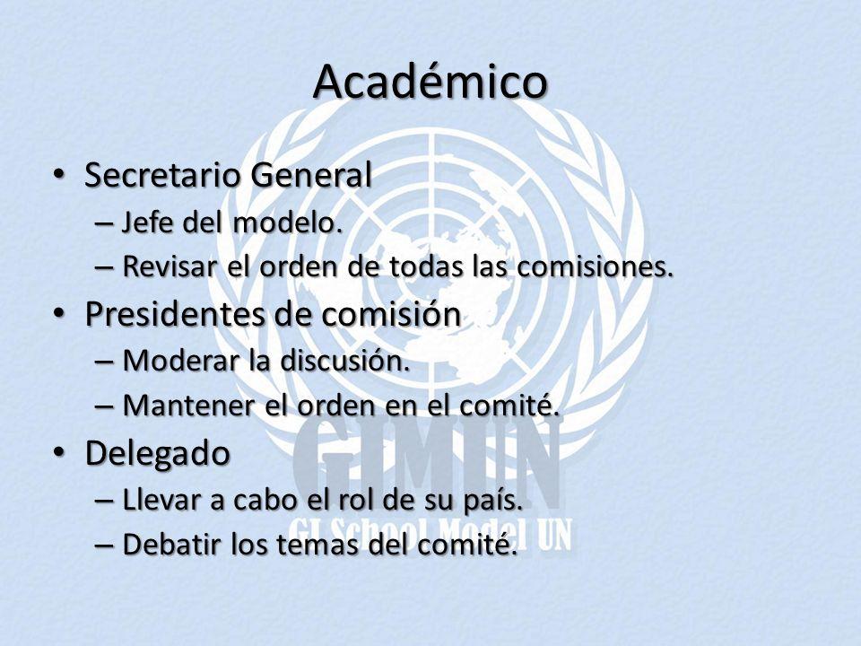 Académico Secretario General Secretario General – Jefe del modelo. – Revisar el orden de todas las comisiones. Presidentes de comisión Presidentes de