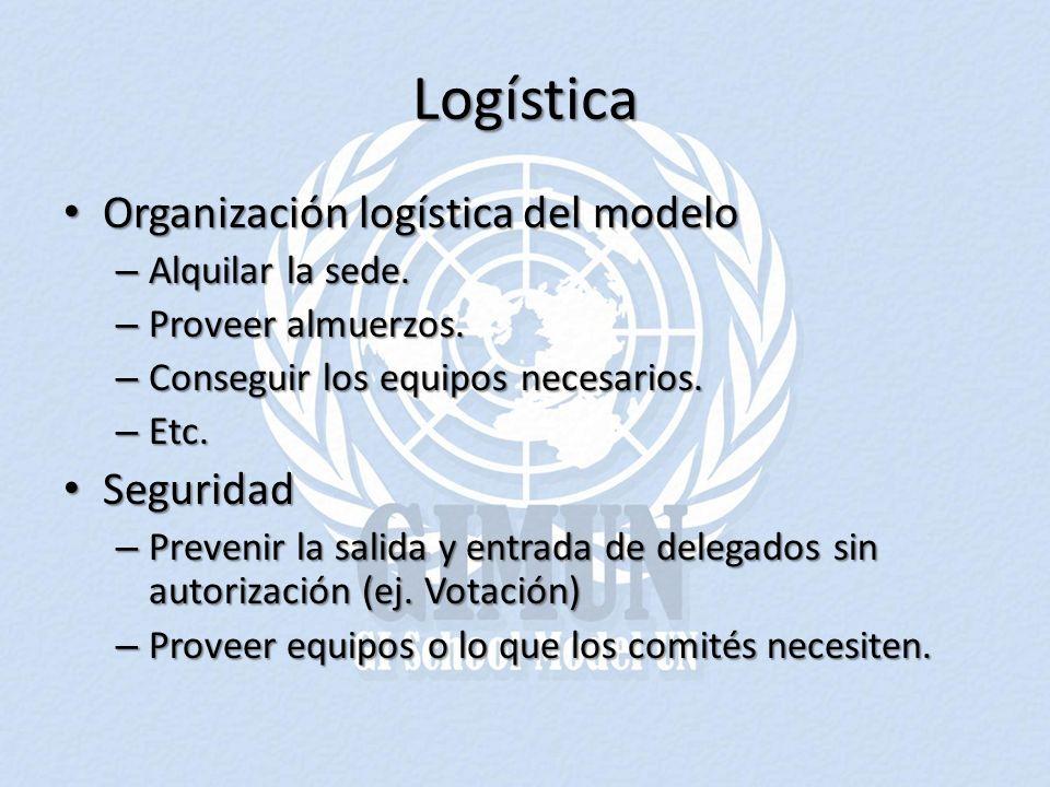 Logística Organización logística del modelo Organización logística del modelo – Alquilar la sede. – Proveer almuerzos. – Conseguir los equipos necesar