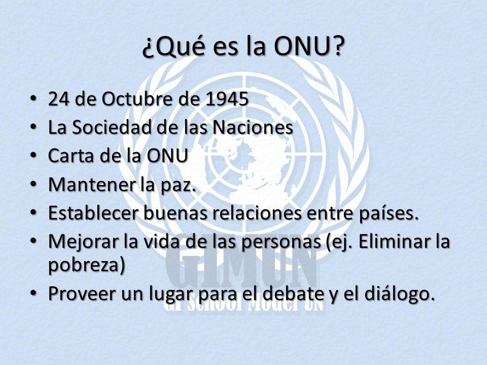 ¿Qué es la ONU? 24 de Octubre de 1945 24 de Octubre de 1945 La Sociedad de las Naciones La Sociedad de las Naciones Carta de la ONU Carta de la ONU Ma