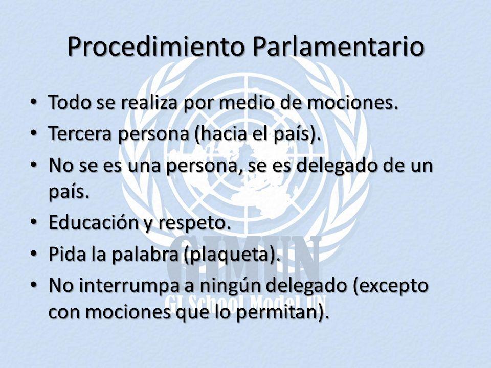 Procedimiento Parlamentario Todo se realiza por medio de mociones. Todo se realiza por medio de mociones. Tercera persona (hacia el país). Tercera per