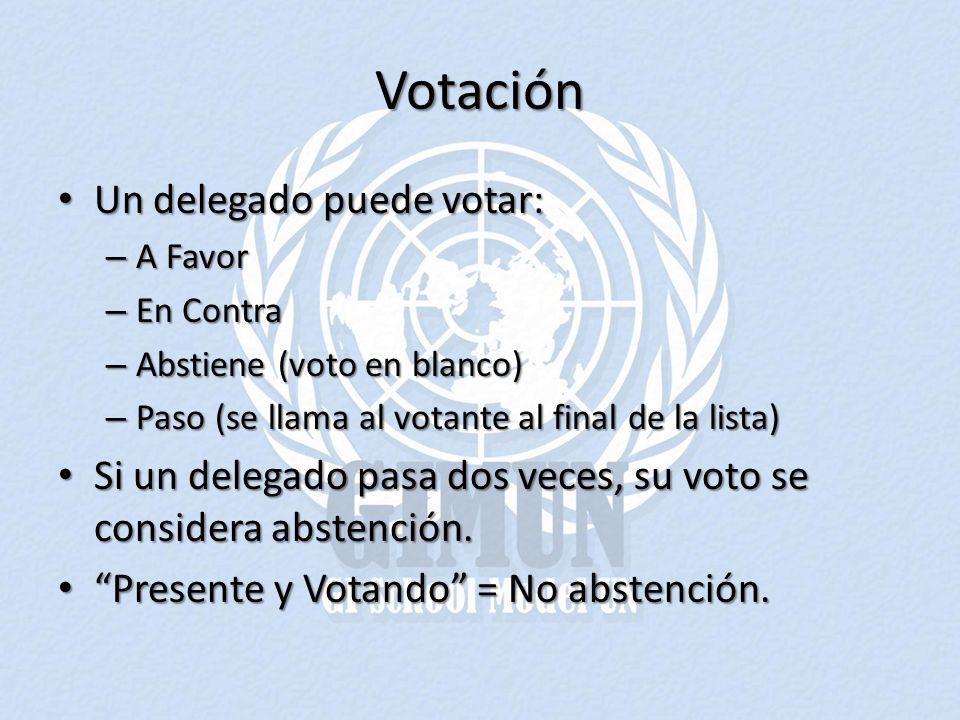 Votación Un delegado puede votar: Un delegado puede votar: – A Favor – En Contra – Abstiene (voto en blanco) – Paso (se llama al votante al final de la lista) Si un delegado pasa dos veces, su voto se considera abstención.