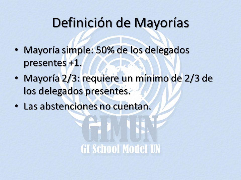 Definición de Mayorías Mayoría simple: 50% de los delegados presentes +1. Mayoría simple: 50% de los delegados presentes +1. Mayoría 2/3: requiere un