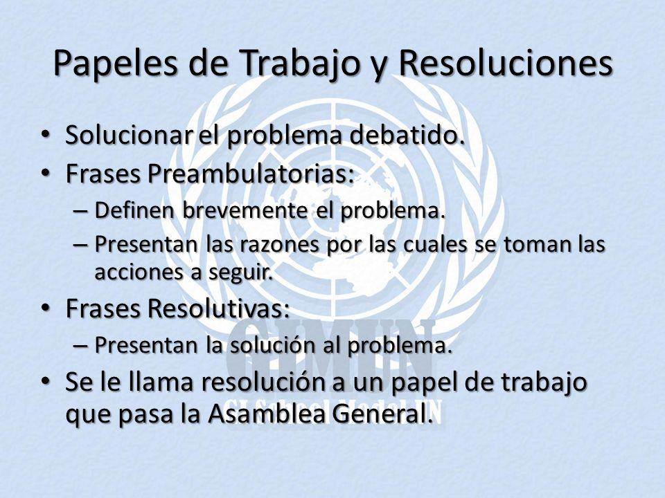 Papeles de Trabajo y Resoluciones Solucionar el problema debatido. Solucionar el problema debatido. Frases Preambulatorias: Frases Preambulatorias: –