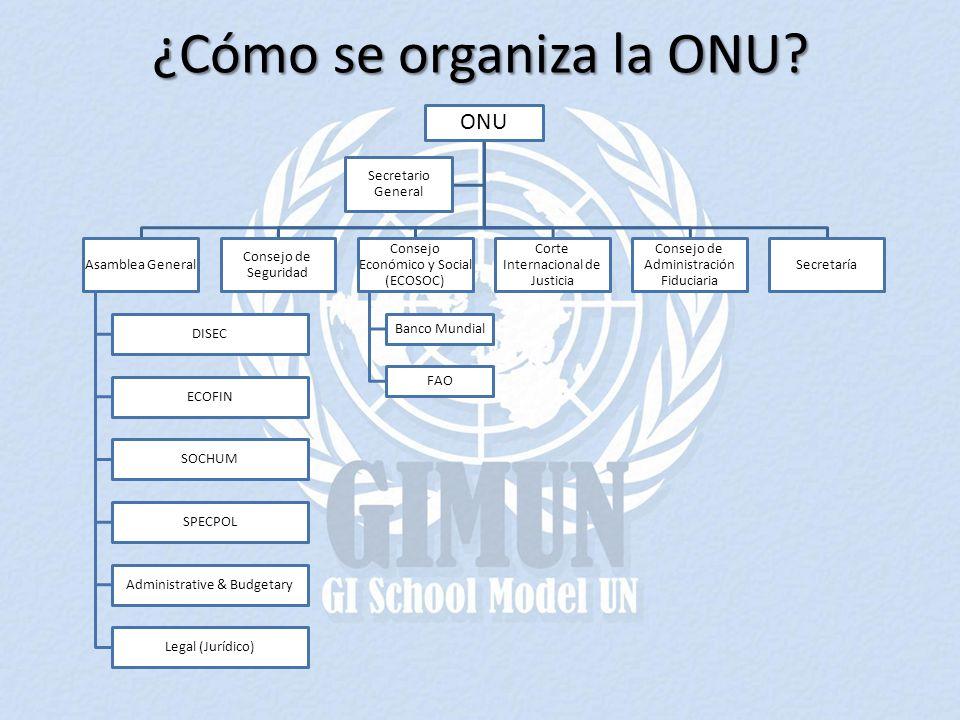 ¿Cómo se organiza la ONU? ONU Asamblea General DISEC ECOFIN SOCHUM SPECPOL Administrative & Budgetary Legal (Jurídico) Consejo de Seguridad Consejo Ec
