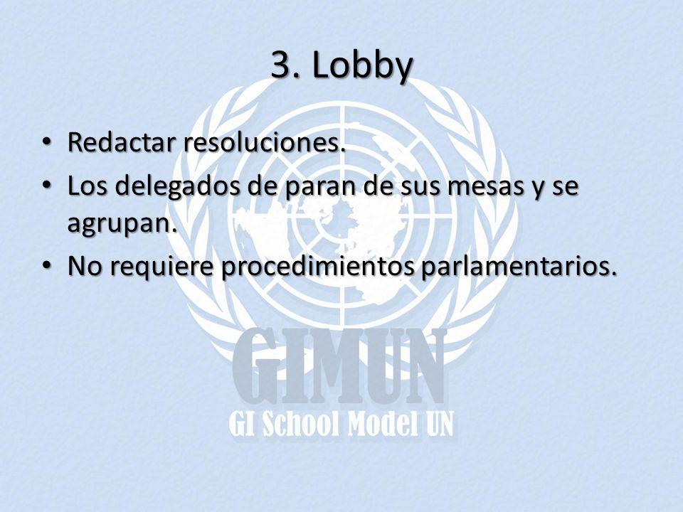 3. Lobby Redactar resoluciones. Redactar resoluciones. Los delegados de paran de sus mesas y se agrupan. Los delegados de paran de sus mesas y se agru
