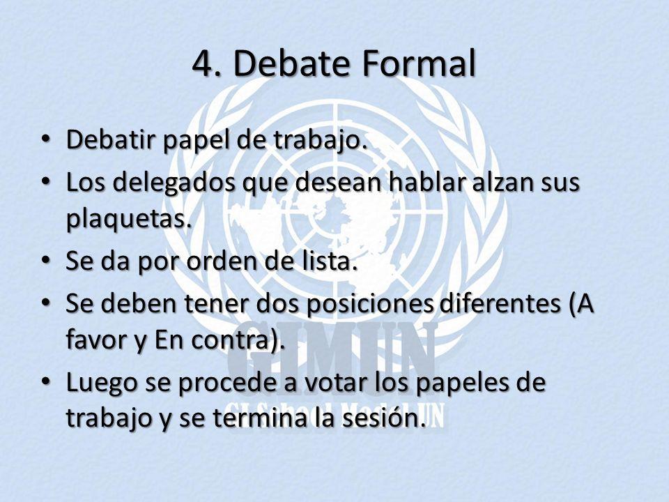4. Debate Formal Debatir papel de trabajo. Debatir papel de trabajo. Los delegados que desean hablar alzan sus plaquetas. Los delegados que desean hab