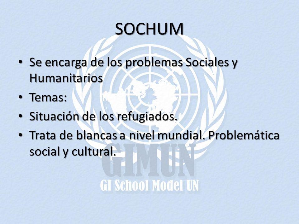 SOCHUM Se encarga de los problemas Sociales y Humanitarios Se encarga de los problemas Sociales y Humanitarios Temas: Temas: Situación de los refugiad