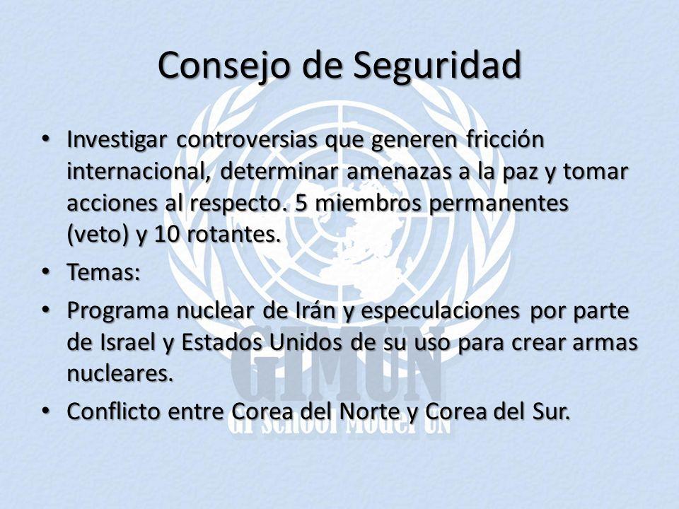 Consejo de Seguridad Investigar controversias que generen fricción internacional, determinar amenazas a la paz y tomar acciones al respecto.